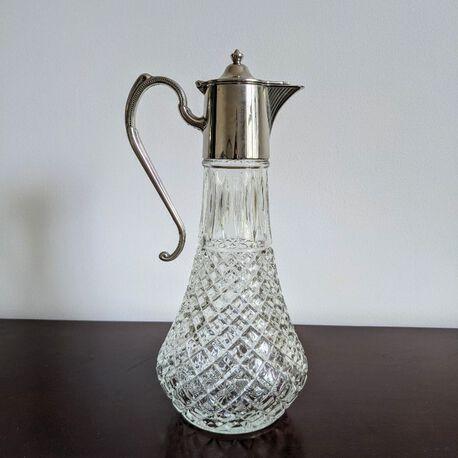 Posrebrzana karafka vintage do wina - Anglia , (1) - Szkło