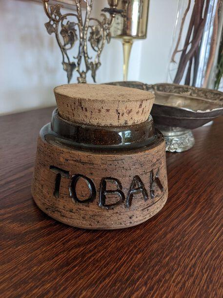 Szwedzki ceramiczny słoik na tytoń, (1) - Trafika