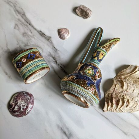 Dekoracyjne naczynia zdobione złotem i mozaiką bizantyjską - G.P. Deruta, (1) - Ceramika