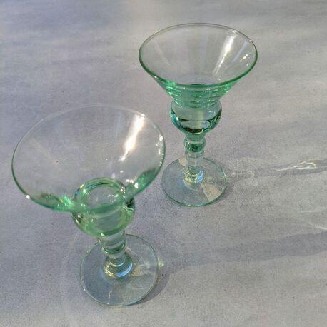 Dwa miętowe kieliszki do likieru, (1) - Szkło