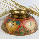 Ręcznie robiona misa z mosiądzu Indie lata 70 XX w., (7) - Rękodzieło