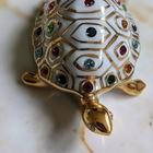 Figurka żółwia z kryształami Swarovskiego - Capodimonte - Made In Italy, (3) - Ceramika
