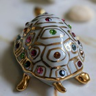 Figurka żółwia z kryształami Swarovskiego - Capodimonte - Made In Italy, (6) - Ceramika