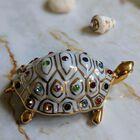 Figurka żółwia z kryształami Swarovskiego - Capodimonte - Made In Italy, (18) - Ceramika
