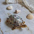 Figurka żółwia z kryształami Swarovskiego - Capodimonte - Made In Italy, (1) - Ceramika
