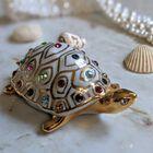 Figurka żółwia z kryształami Swarovskiego - Capodimonte - Made In Italy, (9) - Ceramika
