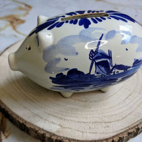 Vintage świnka skarbonka Delft, (1) - Ceramika