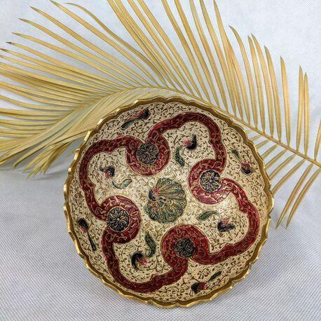 Ręcznie robiona patera z mosiądzu Indie II poł. XX w., (1) - Inne