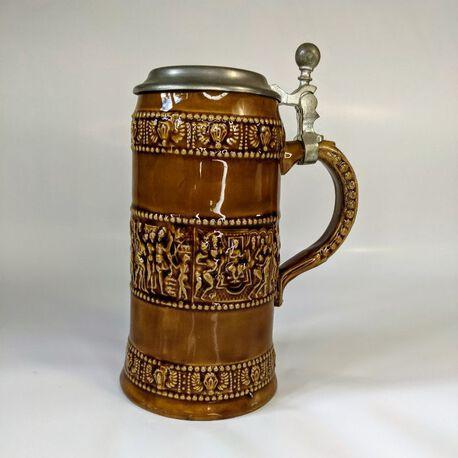 Kufel do piwa z cynową pokrywką, Niemcy - Zinn R Bleifrei, (1) - Ceramika